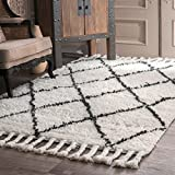 nuLOOM SPRE14A 100-Percent Wool Hand Knotted Fez Shag Area Rug, 9' x 12', Natural