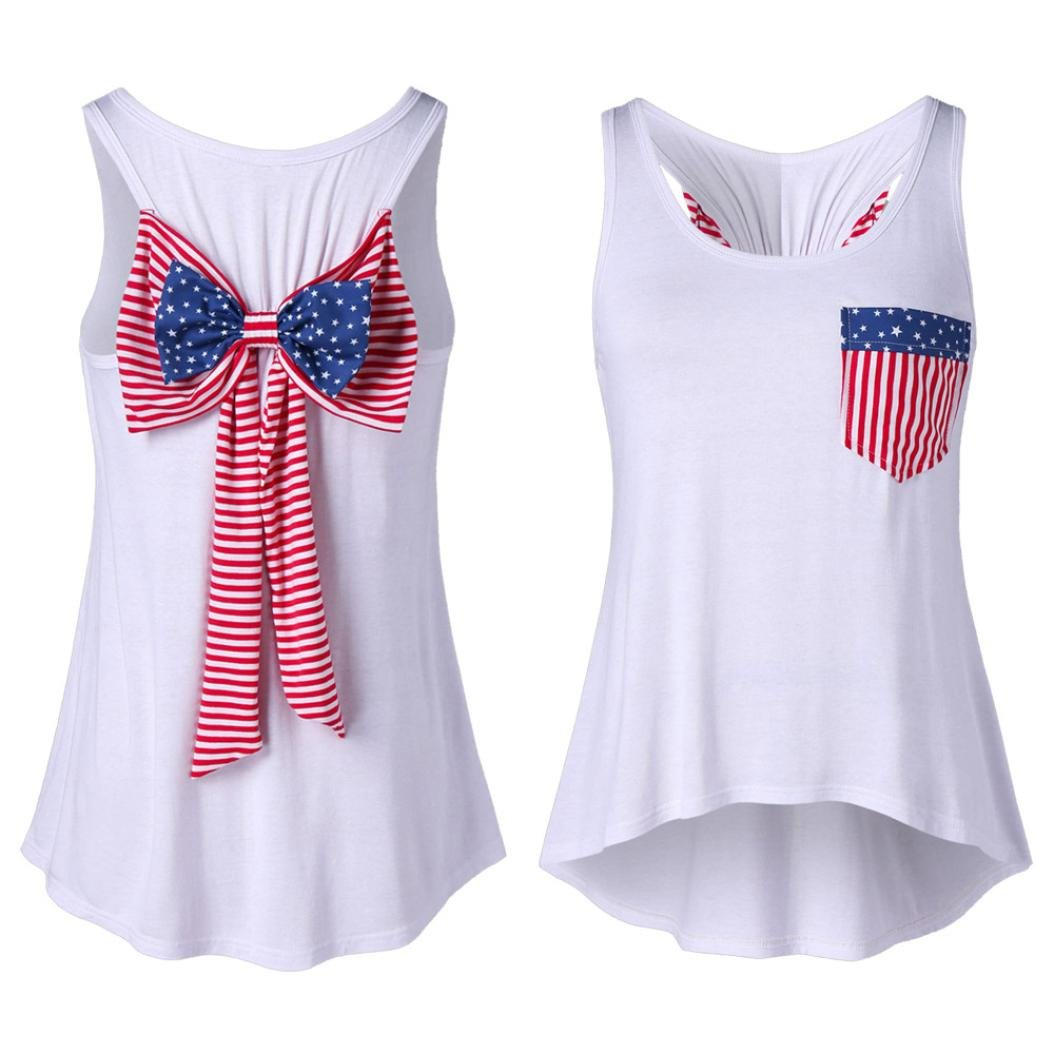 Fiaya Women's American Flag Style Bowknot Sleeveless Vest Casual T-Shirt Tops with Pocket (White, M)