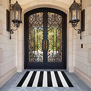 Black and White Striped Area Rug 30'' x 45'' Front Porch Rug Cotton Hand-Woven Outdoor Rug for Layered Door Mats,Farmhouse,Entry Way,Welcome Door Mat