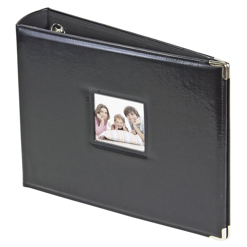 3-Ring Photo Binder Album With Sewn Leatherette Frame, Acid-Free, 12 x 12'' Inserts (BLack)