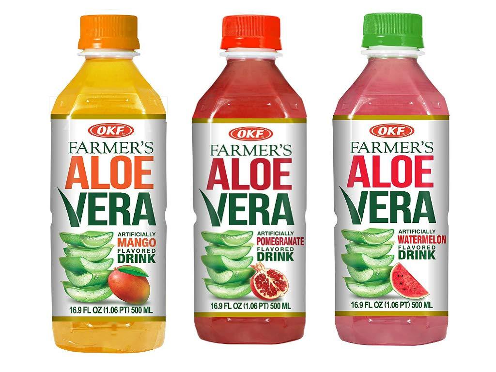 OKF Farmer's Aloe Vera Drink, Mango, Pomegranate and Watermelon, 16.9 Fluid Ounce (Pack of 20 each)