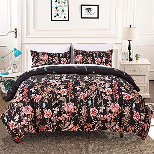 3 Pieces Comforter Set Queen Reversible Floral Leaf Black Bedding Comforter with 2 Pillow Shams All Season Down Comforter Insert Queen Size