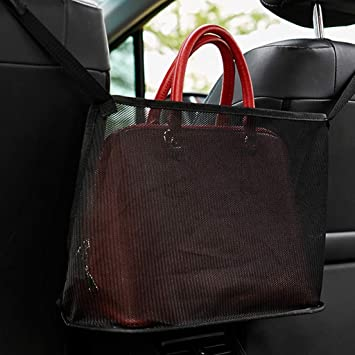 Dog Car Barrier Seat Back Organizer Mesh Car Storage for Purse Phone Documents WARMQ Car Net Pocket Handbag Holder Purse Holder for Car Driver Seat Back Net Bag