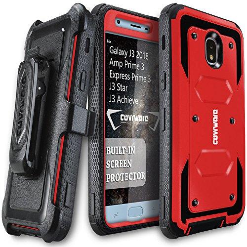 Galaxy J3 2018/J3 V 3rd/Express Prime 3/Achieve/J3 Star/Orbit/Amp Prime 3 COVRWARE [Aegis Series] Built-in [Screen Protector] Heavy Duty Full-Body Armor Belt Clip Holster Case[Kickstand] Red