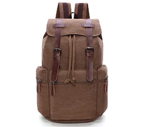 d61e2e6dc6 Goatter Genuine Leather and Canvas Material School Backpack Laptop   Laptop  Backpack  Amazon.in  Bags