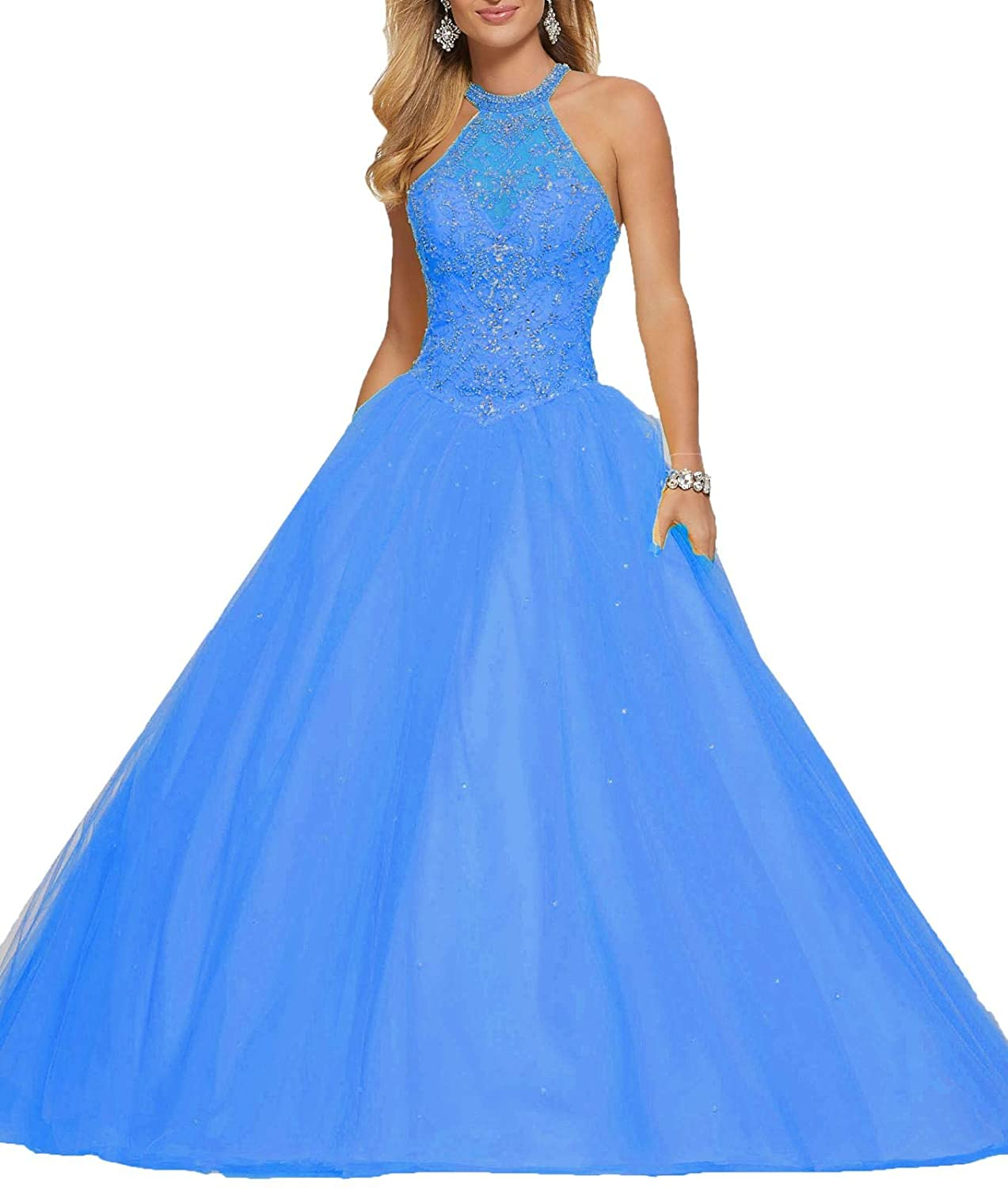 bluee 1 Wanshaqin Women's High Neck Lace Prom Ball Gowns with Beading Appliques Quinceanera Dresses Tulle