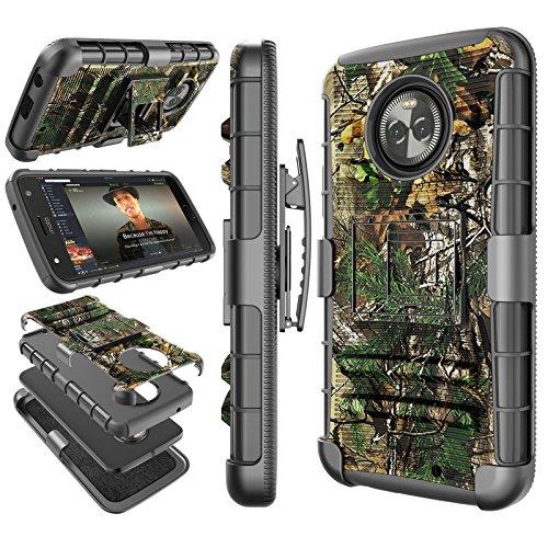 Moto X4 Case, 2017 Motorola Moto X 4th Generation Holster Clip, Tekcoo [Hoplite] Shock Absorbing [Pine Camo] Swivel Locking Belt Defender Full Body Kickstand Carrying Armor Camouflage Cases Cover