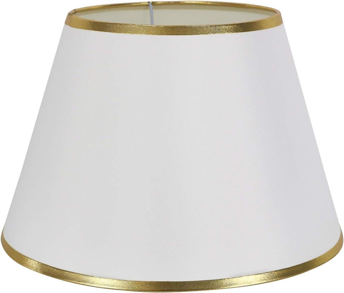 DULEE 12 E27/E14 Screw Tela Pantalla de Lámpara de Pie Mesa y Lámpara de Noche,(Top) 18cm x (Altura) 20cm x (Fondo) 30cm,Blanco con Borde Dorado: Amazon.es: Iluminación