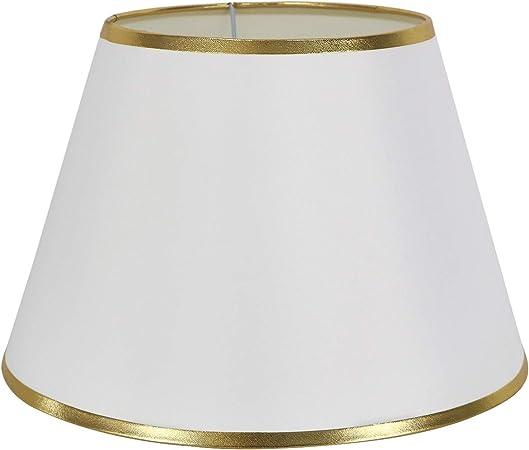 DULEE, lampada da tavolo, 6,3 cm, paralume per comodino, lampada da parete, Bianco con bordo dorato., (Top)7