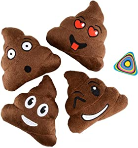 "Shop Zoombie Emoji Poop Pillow 5"" Plush Assorted and 1 Vortex Eraser - 12 Pack - Party Favors, Goody Bags, Prizes, Gag Gifts"