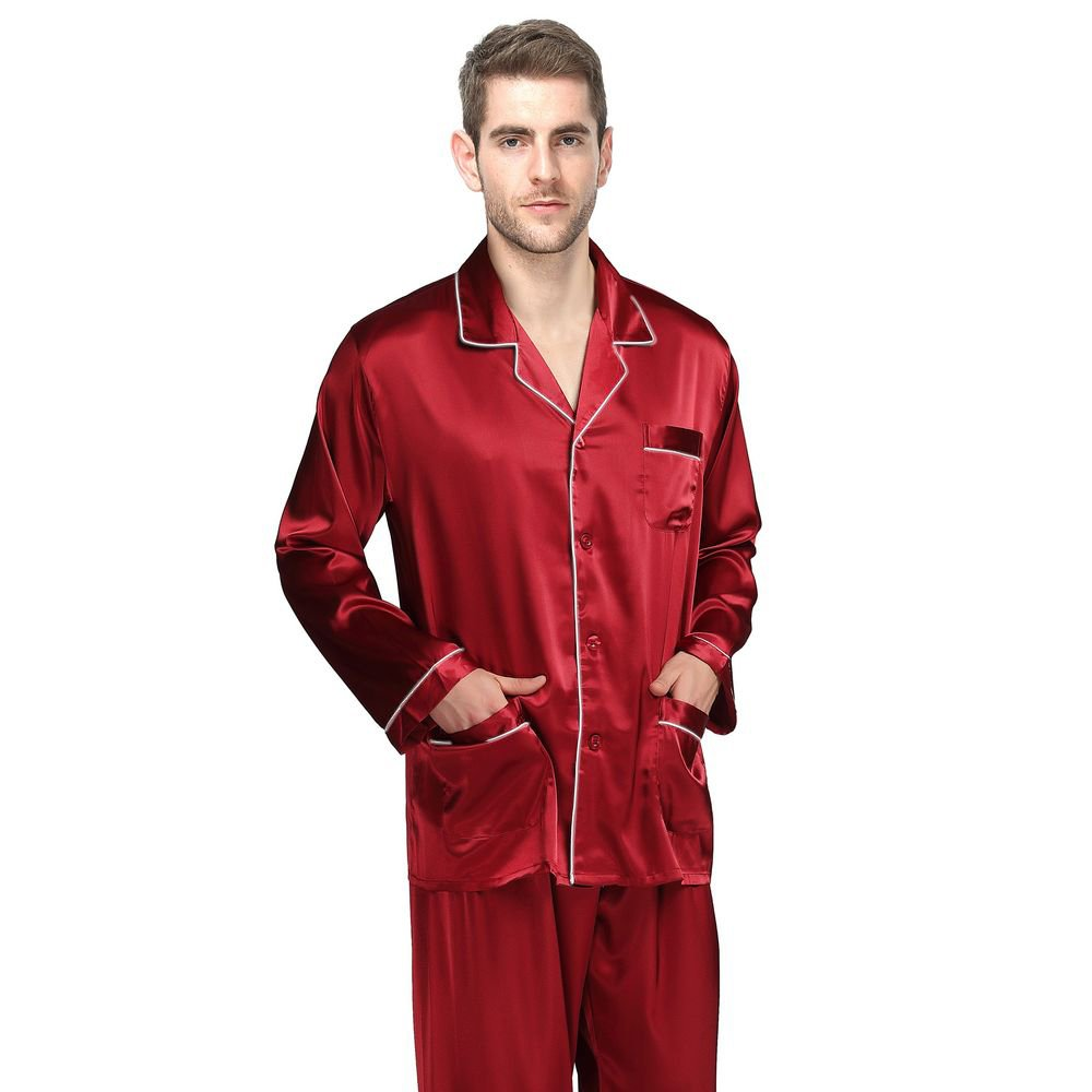 Mens Silk Satin Short Pajamas Set Sleepwear S, M, L, XL, 2XL, 3XL, 4XL W5901