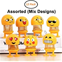JIADA Cute Emoji Bobble Head Smiley Spring Doll Ornaments Bounce Toys Emoticon Figure - Pack of 6