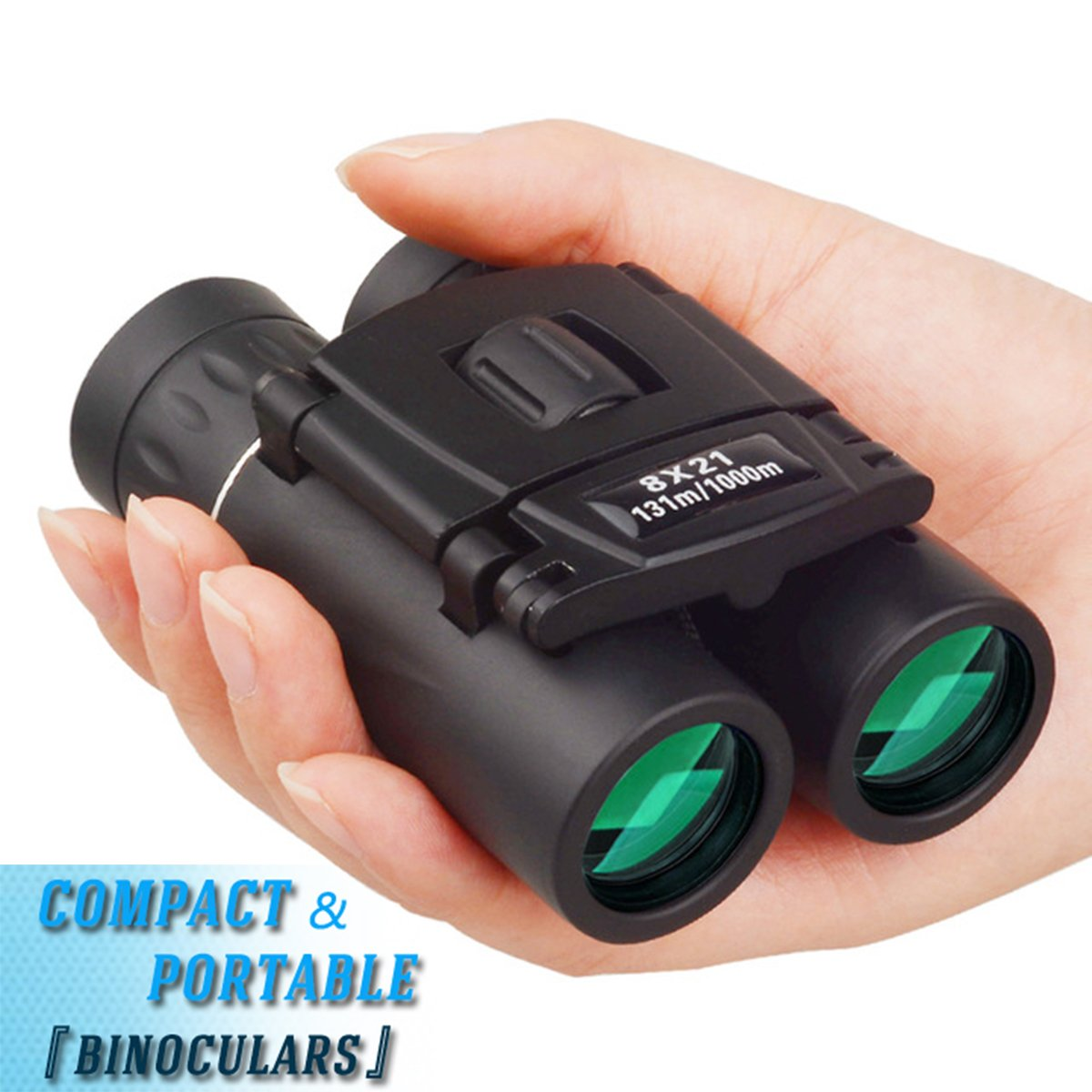 8x21 Compact Binoculars for Adult Kids, Lightweight Mini Binoculars with Pocket for Travel Hiking Bird Watching with Strap, Theater & Concert