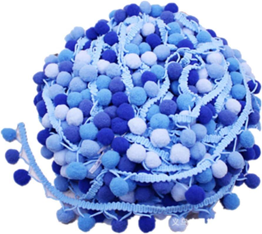 HEALLILY Pom pom trim ball franja cinta accesorio de costura diy para vestido bufanda sombrero cortina decoración 4.5m (azul)