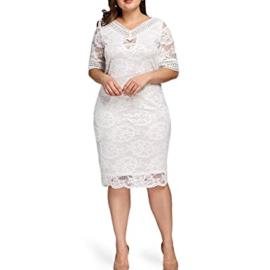 XONY Women Summer Elegant Plus Size V Neck Half Sleeve Lace Bodycon Dress  Casual Party Midi Dress - White - X-Large  Amazon.co.uk  Clothing b9717b732
