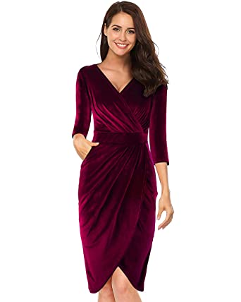 7688a6065b LECCECA Womens V Neck 3 4 Sleeves Velvet Bodycon Pencil Wrap Dress Sexy  Cocktail Wedding