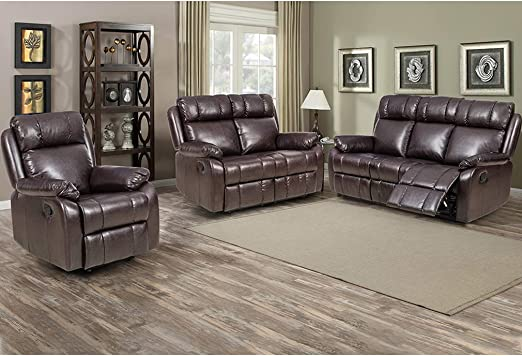 ANJ 3-Piece Sectional Sofa Set Bonded PU Leather Living Room Couch,Loveseat with Cup Holders,Manual Reclining Recliner Chair,and Sofa 3seat Set 3+2+1, Gray