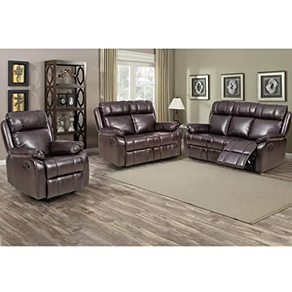 Amazon.com: Recliner Sofa PU Leather Sofa Recliner Couch Manual ...