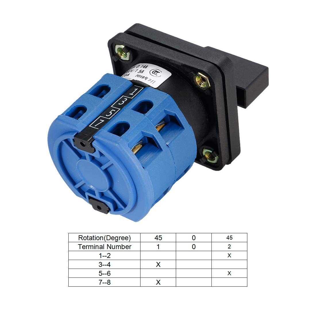 Ranbo Changeover Switch 3 Position Rotary Selector Cam Switch Panel Mount 8 Terminals Latching Ui 550V Ith 20A Blue 50x50, 3 P 8 T, Ith 20A