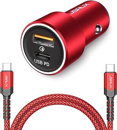 Amazon.com: JSAUX - Cargador de coche USB C PD, 36 W, 2 ...