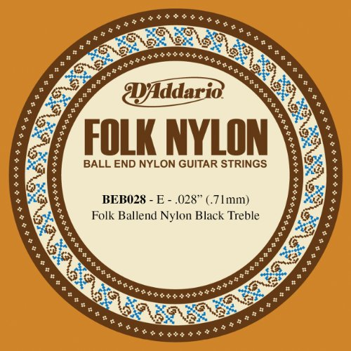 D'Addario BEB028 Folk Nylon Guitar Single String, Black Nylon, Ball End.028 Daddario Nylon Folk Strings