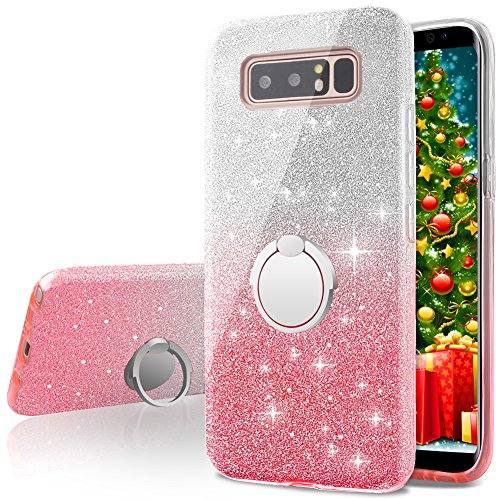 Skin Cell Phone Case - Galaxy Note 8 Case,Silverback Girls Bling Glitter Sparkle Cute Phone Case With 360 Rotating Ring Stand, Soft TPU Outer Cover + Hard PC Inner Shell Skin for Samsung Galaxy Note 8 -Pink