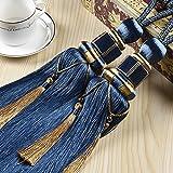 KISENG Tassel Tiebacks, 1 Pair Window Curtain Tieback Tassel Curtain Cord Curtain Tiebacks Rope for Home Decor (Dark Blue)