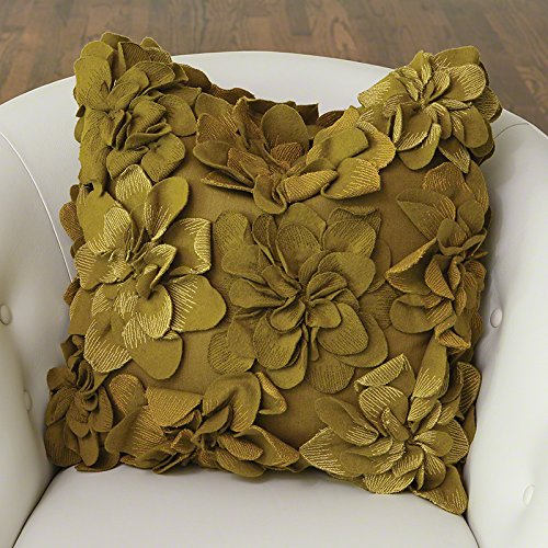 Olive Green Flower Pillow Throw Pillow | Square Accent Textu