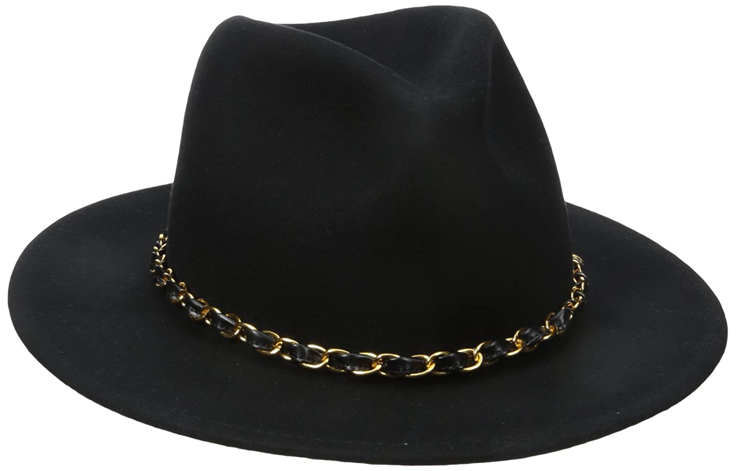 San Diego Hat Company Women's Fedora with Gold Chain Band Black One Size WFH7980