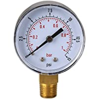asiproper Low Pressure Gauge for Fuel Air Hydraulic 50 mm 0/15 Psi 0/1 Bar 1/4 Bspt