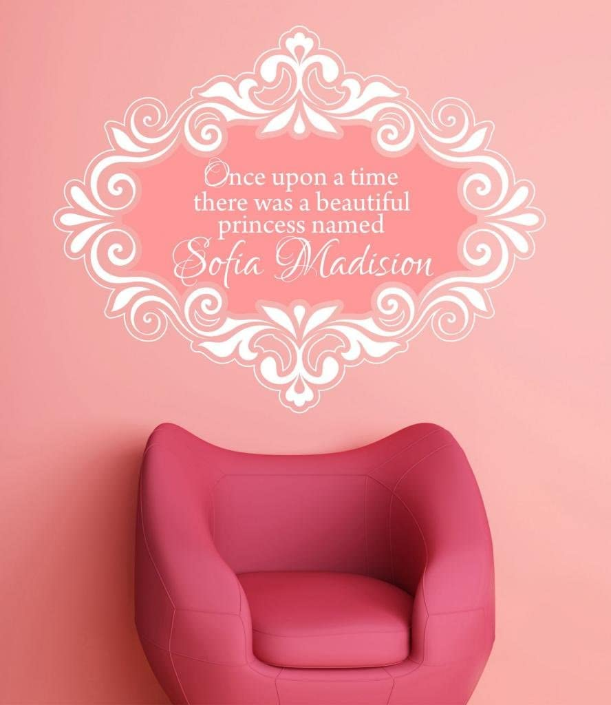 ONCE UPON A TIME PRINCESS wall sticker personalised name girls vinyl quote