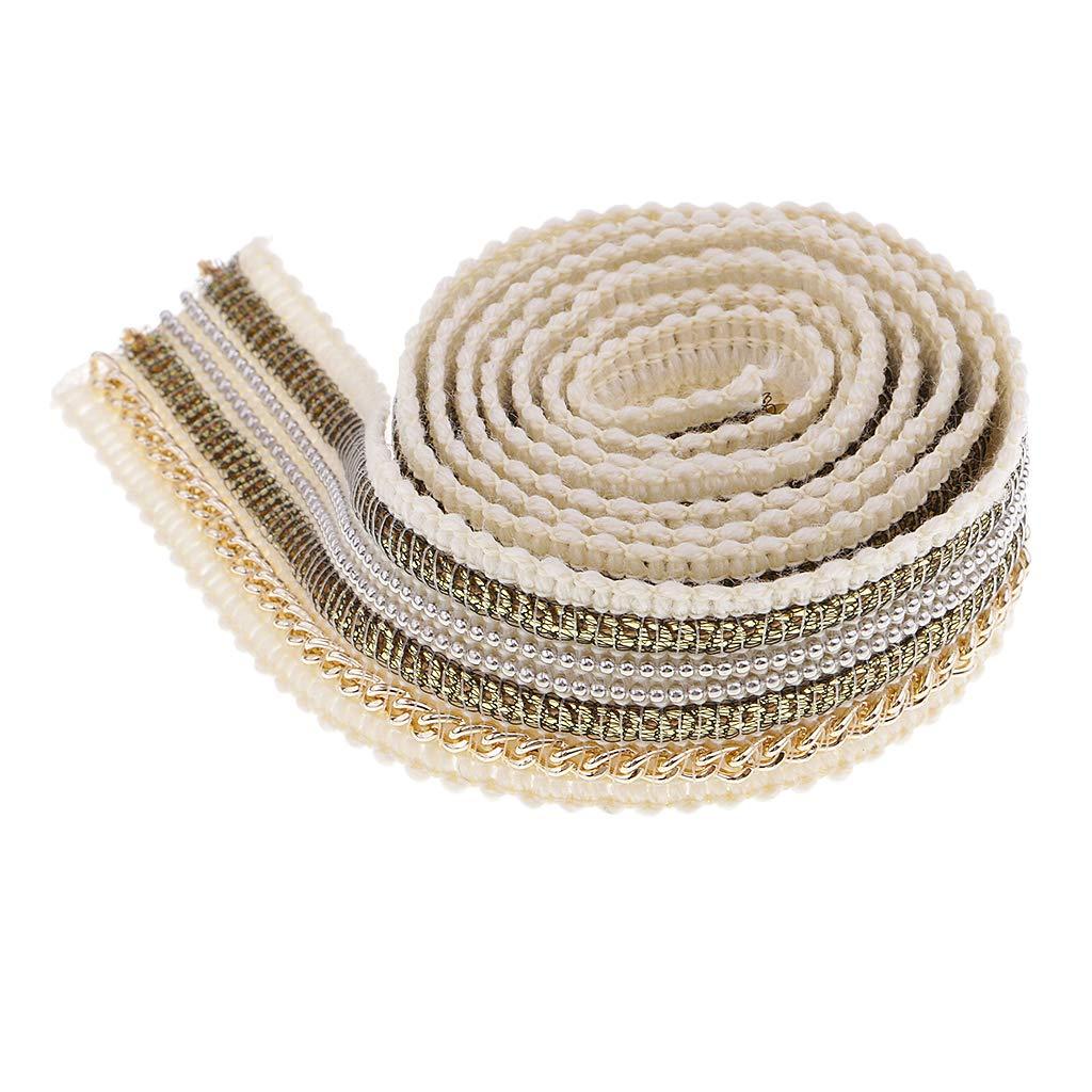MagiDeal 1 Yard 25mm Rubans Garniture de Dentelle Tissu Paillettes Perlé es de Couture Bricolage - beige