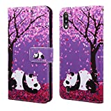 EnjoyCase Wallet Case for Galaxy A10,Colorful Cherry Flower Panda Pattern Pu Leather Bookstyle Card Slots Magnetic Flip Cover With Hand Strap for Samsung Galaxy A10
