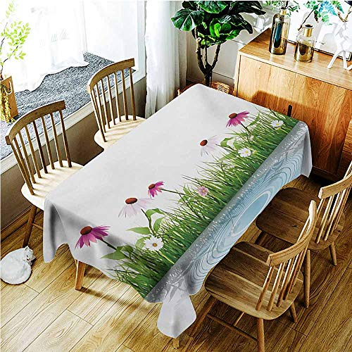(TT.HOME Custom Tablecloth,Flower Coneflower by The Lake Water Sea Fall Season Hand Drawn Horizontal Hand Drawn Print,Party Decorations Table Cover Cloth,W60x120L,Multicolor)