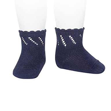 new york top-rated latest factory authentic Condor Short Pear Socks for Baby with Diagonal Openwork Navy ...