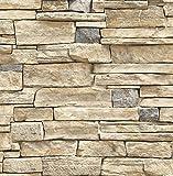 Contemporary Natural Limestone Brick Wallpaper (Cream and Grey)