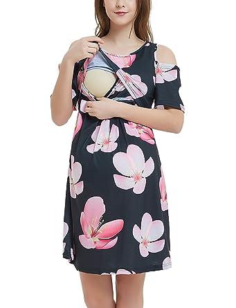 69e2ebe82ea9c GINKANA Cold Shoulder Women's Maternity Nursing Dress for Breastfeeding  Knee Length Pregnancy Dress at Amazon Women's Clothing store: