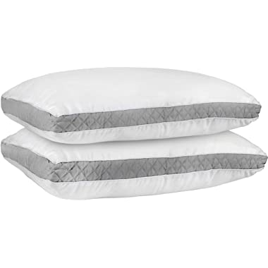 Utopia Bedding Gusseted Quilted Pillow (Standard/Queen 18 x 26 Inches, Blue) Set of 2 Premium Quality Bed Pillows Side Back Sleepers Blue Gusset (Grey, King)