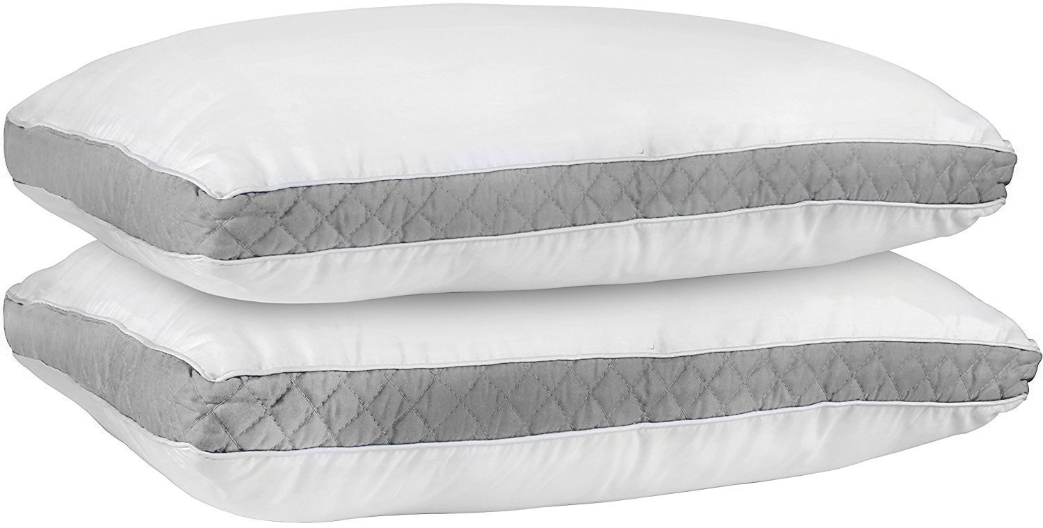 Utopia Bedding Gusseted Quilted Pillow (Standard/Queen Sized - 18 x 26 Inches) - Grey - Pack of 2 - Hypo Allergenic and Easy Care - Premium Quality Pillows with Grey Gusset by Utopia Bedding