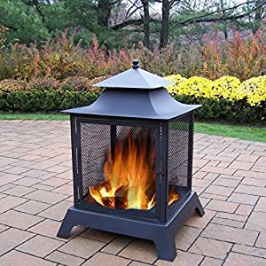 Oakland Living Corporation Oakland Living Highland Black Iron Fire Pit with Spark Guard Screens, Door with Full 360-degree View