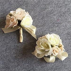 WeddingBobDIY Groom Boutonniere Bride Wrist Corsage Hand Flower Wedding Flowers Accessories Prom Man Suit Decoration 56
