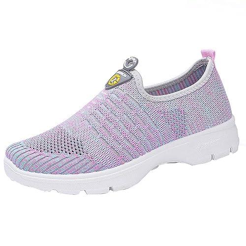 OHQ Zapatillas De Gimnasia Botas Mujeres Mocasines Casuales De Malla para Mujer Zapatos Sin Cordones Transpirables Zapatos para Correr Suaves Zapatos De ...