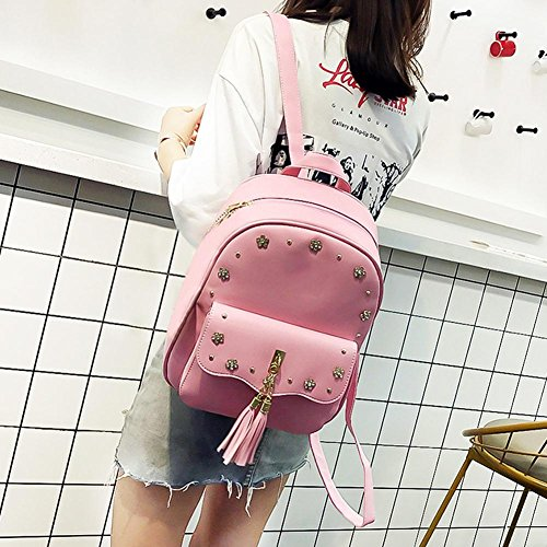 3pcs Flowers Chain Composite Bags Vintage Akaddy PU Card Backpack Pink Bag Shoulder Set Women Pink Round xgUnq07a