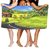 PengMin Clear Countryside Road Premium 100% Polyester Large Bath Towel, Pool And Bath Towel (80'' X 130'') Natural, Soft, Quick Drying