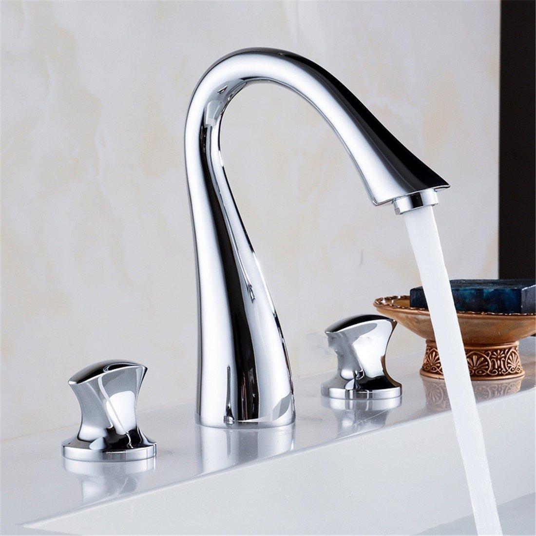 Alle Kupfer split Hahn Waschbecken wasserhahn Doppel drei LocHöheißen und kalten Wasserhahn im Waschbecken Wasserhahn