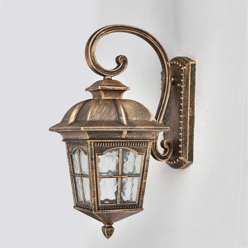 Applique Da Esterno Rustico Rustico Corridoio//Giardino//Balcone//Giardino//Applique Da Parete Lanterna In Vetro Con Attacco E27 Per Sorgente Luminosa,Black