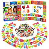 Magnetic Letters and Numbers + Matching Objects for Toddlers + Dry Erase Magnetic Board + 35+ Learning & Spelling Games E-Book Included   ABC Fridge Magnets for Kids   Educational Foam ABC Toy Game