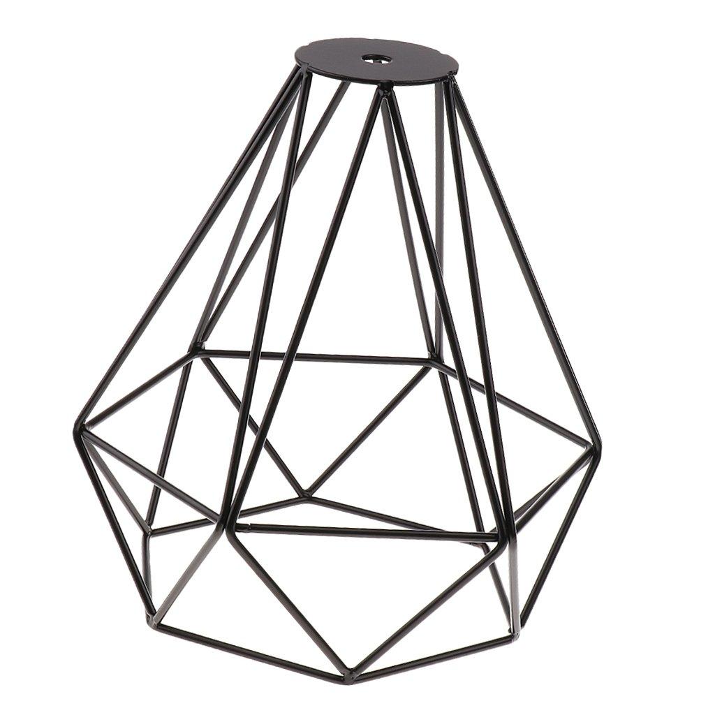 Abat-Jour de Lampe de Plafond Forme de Diamant Cage en Mé tal Vintage Pendentif Loft Dé cor - Argent, 20x20cm Generic