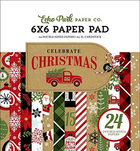 Echo Park Paper Company CCH159023 Celebrate Christmas 6x6 Pad Paper, red, Green, tan, Burlap, Black