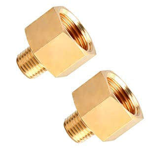 """SUNGATOR Brass Pipe Fitting, Reducer Adapter, 1/4"""" Male Pipe x 1/2"""" Female Pipe (2-Pack)"""